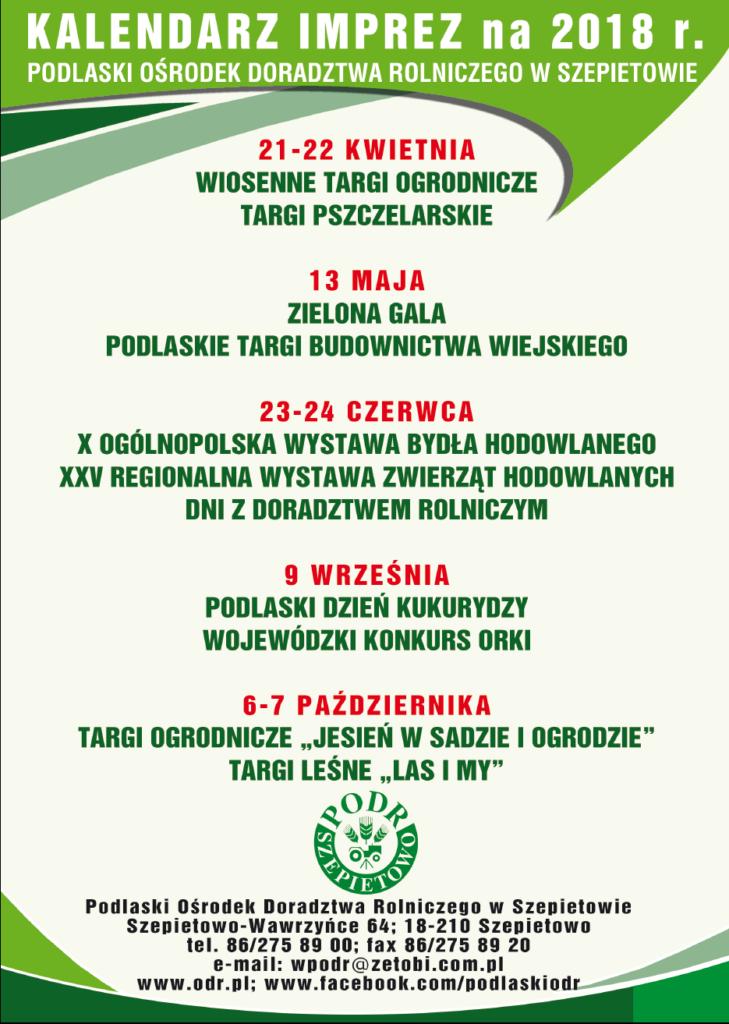 PODR_Szepietowo_Kalendarz imprez_2018