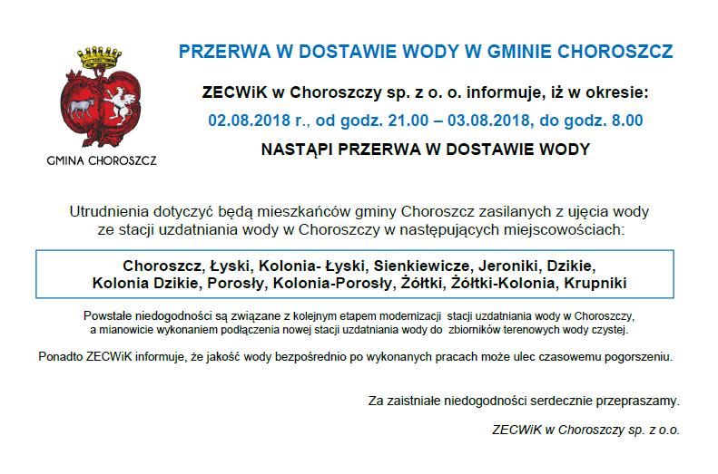 Przerwa w dostawie wody w gm. Choroszcz_2-3.08.2018_OGŁOSZENIE
