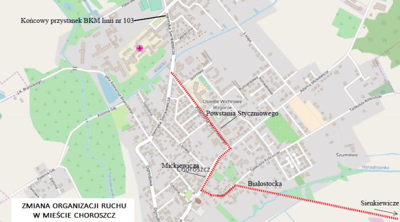 Zmiana organizacji ruchu w mieście Choroszcz_30.07.-13.08.2018