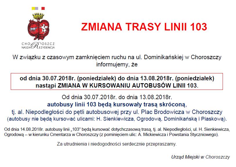 Zmiana trasy linii 103_30.07-13.08.2018_OGŁOSZENIE