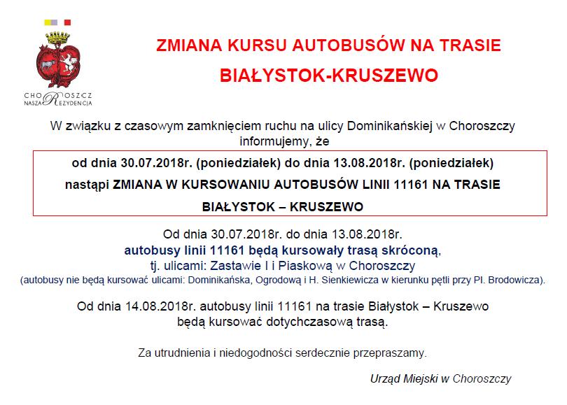 Zmiana trasy linii Białystok-Kruszewo_30.07-13.08.2018-OGŁOSZENIE